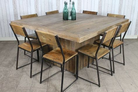 Reclaimed Elm Dining Table Large Square Dining Table 12 Seat