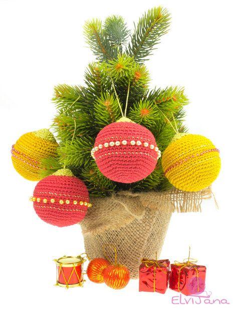 Christbaumkugeln Aubergine.Weihnachtsbaumkugeln Christbaumkugeln 4 Er Set Gehäkelt Amigurumi