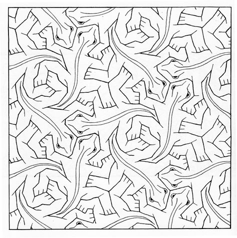 Bird Fish Tessellation by M.C. Escher FREE Coloring page | Art ...