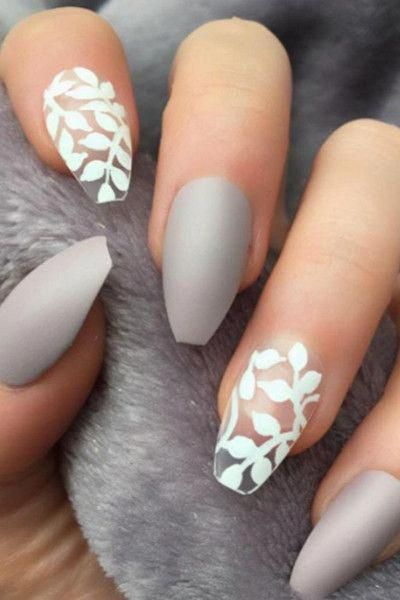 White Floral Nails - Holiday Nails -- use with any color and put a touch more base coat under the negative space nails #whitenail