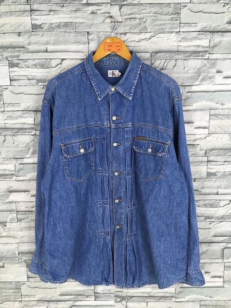 CALVIN KLEIN Denim Shirt Xlarge Vintage 90's Ck Jeans New