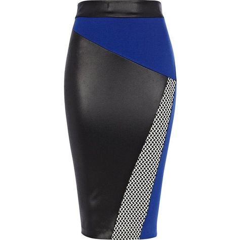 Rock the blocks in this chic and sexy bright blue and monochrome colour block pencil skirt. With asymmetric panels in contrast jacquard and leather-look, this …