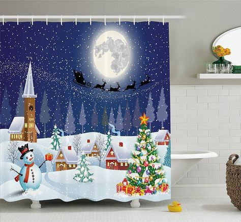 Christmas Shower Curtain Starry Night Winter Scene Fabric With Hooks Holiday New Ambesonne