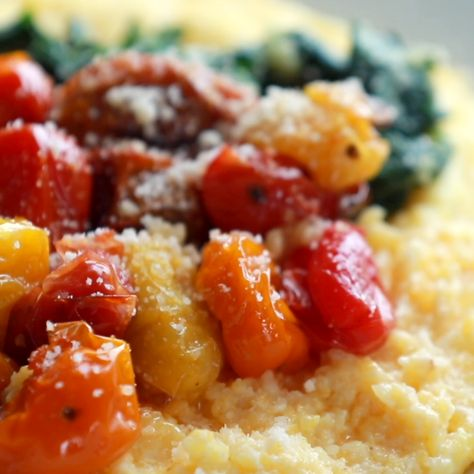 Roasted Tomatoes with Goat Cheese Polenta! Fresh, juicy tomatoes, vibrant green spinach, and a creamy goat cheese polenta!