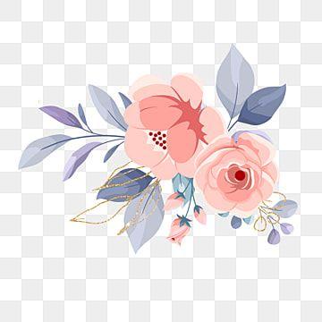Elemento De Flor Aquarela Com Cor De Ouro Azul E Rosa Rosas Clipart Flor Casamento Imagem Png E Psd Para Download Gratuito Flower Wreath Illustration Flower Background Wallpaper Watercolor Flowers