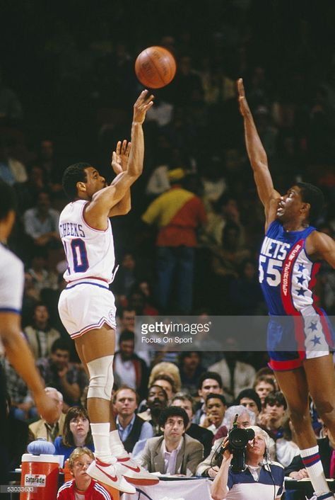 Philadelphia 76ers  guard Maurice Cheeks  10 makes a jumpshot against the New  Jersey Nets at The Spectrum circa 1984 in Philadelphia 78da84efb