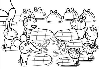 Dibujo De Peppa Pig Para Colorear Con Todos Sus Amigos Peppa Pig Coloring Pages Peppa Pig Colouring Coloring Books