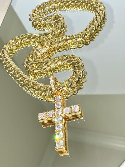 5x Real 18K Gold Brass Long-Lasting Plated Micro Pave Cross Cubic Zirconia Charm