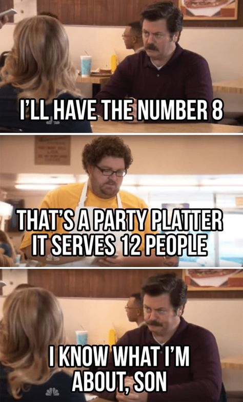 """Twenty-Seven 'Parks And Rec' Memes For Superfans Of The Show - Funny memes that """"GET IT"""" and want you to too. Get the latest funniest memes and keep up what is going on in the meme-o-sphere. Parks And Recreation, Parks And Rec Quotes, Parks And Rec Ron, Ron Swanson Meme, Parcs And Rec, Funny Quotes, Funny Memes, Food Quotes, Funniest Memes"""