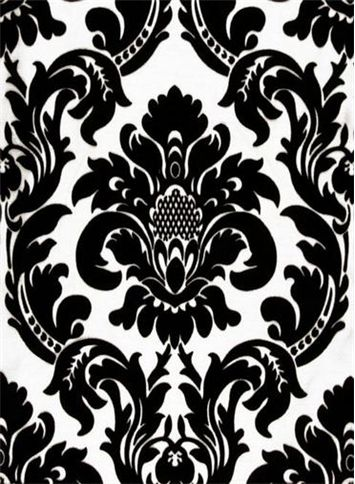 NEW Sultans Linens Black White Damask Scroll Shower Curtain Fabric 70x72 Nice