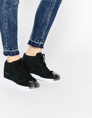 Adidas Originals Black Suede Superstar Up Metal Toe Cap Sneakers Shoes Women Heels Women Shoes Womens Sneakers
