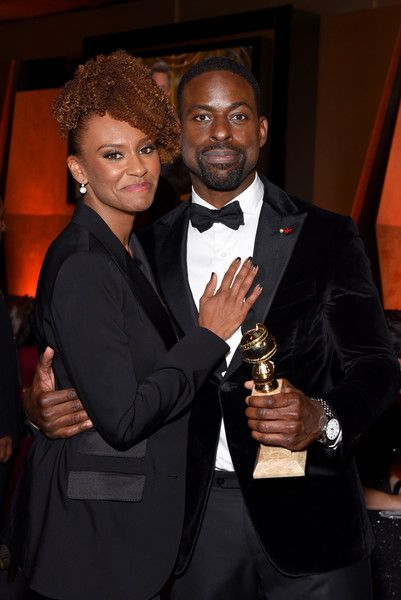 Ryan Michelle Bathe and actor Sterling K. Brown, winner of the award for Best Performance by an Actor in a Television Series (Drama) for 'This Is Us,' attend the Official Viewing and After Party of The Golden Globe Awards.