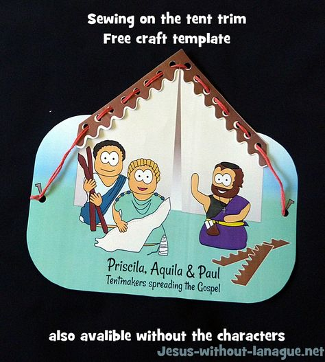 Simple stitching activity can be linked to many biblical stories with tents, specifically for Priscilla and Aquila
