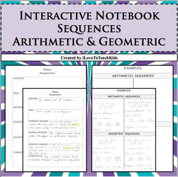 Arithmetic Geometric Sequences Lesson Interactive Notebook