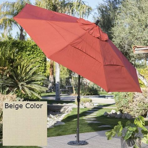 Outdoor Patio 11 Ft Market Umbrella With Push Button Tilt With Beige Shade Patio Umbrellas Patio Outdoor Umbrella