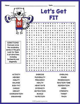 Health And Fitness Word Search Puzzle Worksheet Activity Fitness Words Education Quotes Teaching Vocabulary Vocabulary worksheets word search puzzles