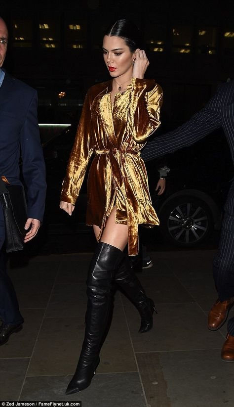 Leggy lady: Cutting off at an eye-watering height for added sex appeal, Kendall then gave a flash of her enviably long pins to all as she stepped out for another glamorous evening