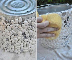 Macetas Decoradas Con Piedras
