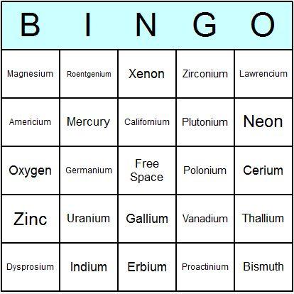 Resultado de imagen de bingo quimico Tabla periódica Pinterest - new tabla periodica el xenon