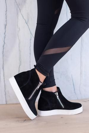 5348691fee8 STEVE MADDEN Wedgie Sneakers - Black, wedge sole, zipper shoe ...