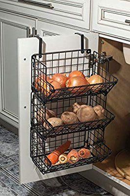 Amazon Com Hanging Fruit Basket Under Sink Inside Cabinet Storage Metal Wire 3 Tier Organizer Kitche Wall Basket Storage Produce Storage Hanging Fruit Basket