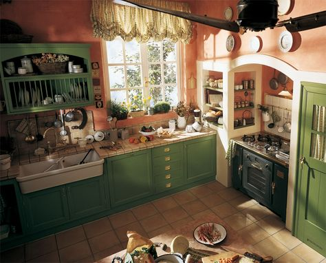 English Country-Style Kitchen Old England - Built-in Country - landhauskchen mediterrank che wandpaneel glas