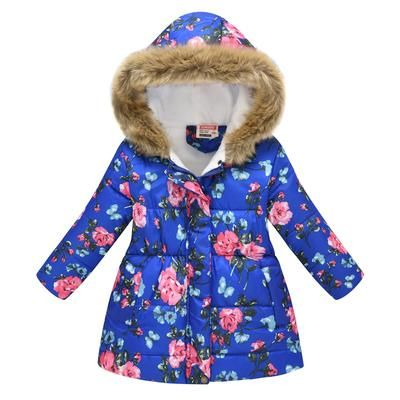 Girls Parka Winter Coat Fur Kids Fur Hooded Jackets Parkas Cartoon Print Baby Girl Coat Princess Children Thicken Outerwear