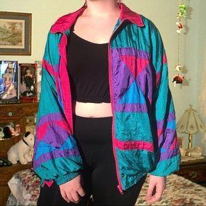 Jackets Blazers Vintage 80s 90s Windbreaker Jacket Xl Retro 90s Windbreaker Jacket 80s Jacket 90s Windbreaker