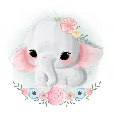 Cute baby elephant | Premium Vector #Freepik #vector #watercolor #birthday #baby #love