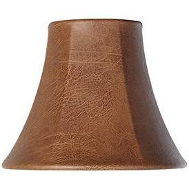 Brown Faux Leather Lamp Shade 3x6x5 Clip On Lamp Shade