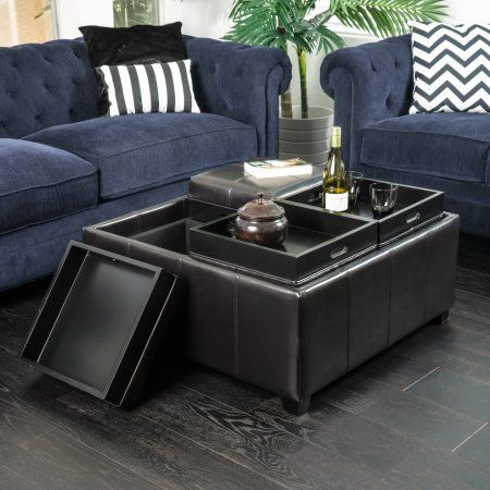 Noble House Arden Brown Bonded Leather 4Tray Storage Ottoman