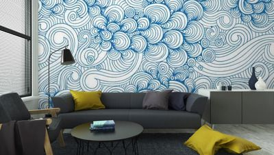Living Walls Oriental Wave Tile Caribean Turquoise