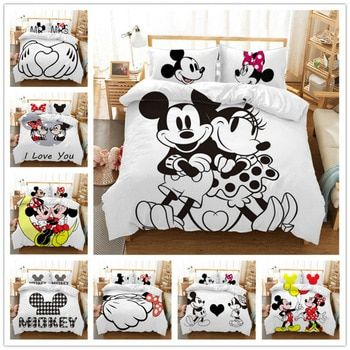 Mickey Mouse Bedding Set Christmas Gift Soft Home Textiles Bedroom Twin Double Queen King Size Children C Mickey Mouse Bed Set Mickey Mouse Bedding Bedding Set