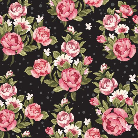 Roses on Black Removable Wallpaper Wall Decal