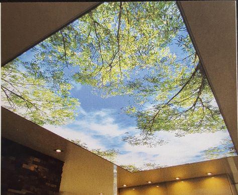 Deckenbild mit individueller Gestaltung. Himmel und Blättern. Von ...