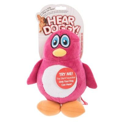Hear Doggy Penguin Silent Squeak Plush Dog Toy Pink L Dog