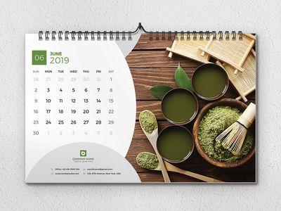 Desk Calendar 2019 Desain Pamflet Desain Grafis Kalender