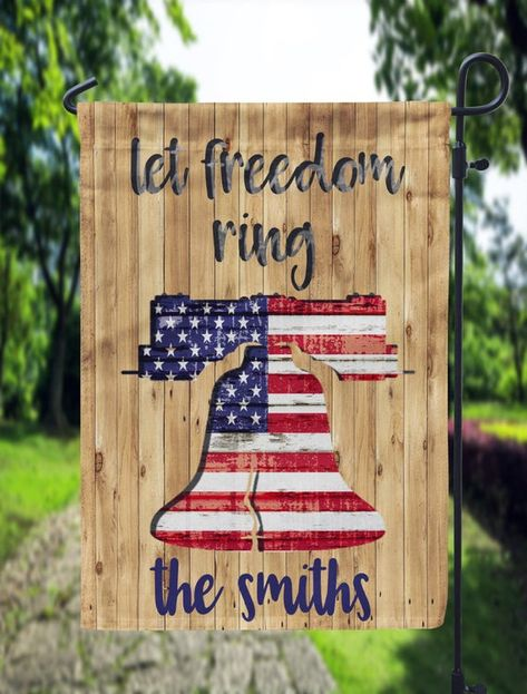 Let Freedom Ring Wooden Liberty Bell American Flag Garden Flag Sublimation Template