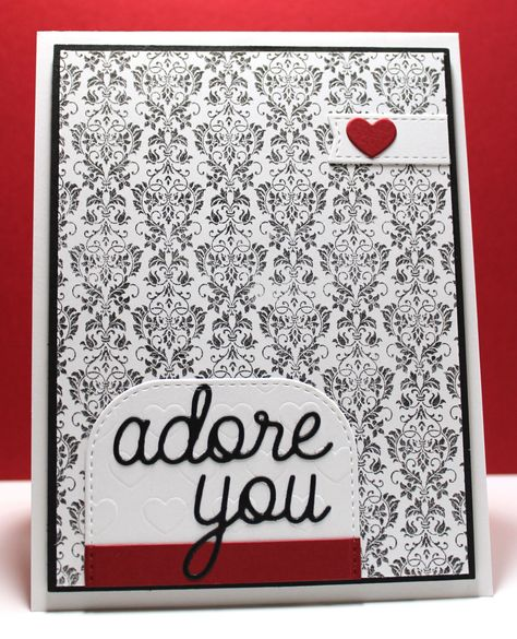 Damask Background, Love and Adore You Die-namics, Tag Builder Blueprints 3 Die-namics, Staggered Hearts Stencil - Jody Morrow #mftstamps