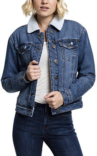 sale retailer 1fc27 befa0 Urban Classics TB1740 Ladies Sherpa Denim Jacket, klassische ...