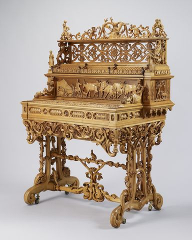 1851 Rococo Secretary, Displayed 1851 Crystal Palace, ML Wetli,  Switzerland, Purchased By