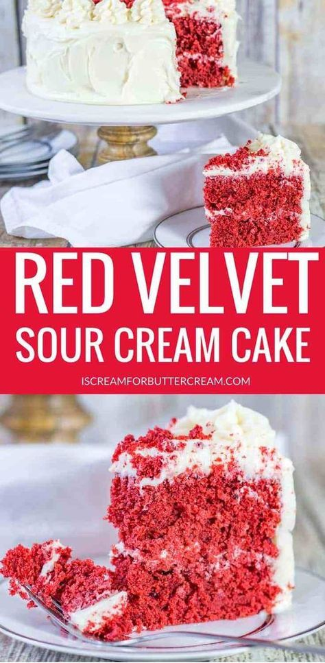 Sour Cream Red Velvet Cake Recipe Sour Cream Cake Velvet Cake Sour Cream