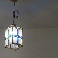 十字のペンダントライト 真鍮角とステンドグラスのライト led電球付き ペンダントライト ステンドグラス ライト
