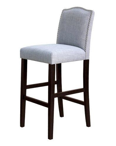Import Furniture Camelot Nailhead 29 Inch Barstool Grey Fabric