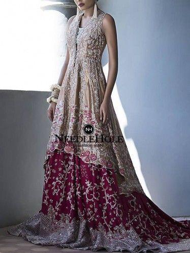 Hot pink & gold designer wedding lehenga dress for brides in London UK. Discover latest styles of Pakistani bridal lehenga dress with price and wedding lehnga suit with price