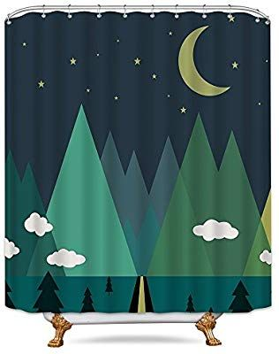 Amazon Com Cdcurtain Triangle Tree Shower Curtain Forest Cute Cloud Moon Mountain Star Kids Decor F Fabric Decor Tree Shower Curtains Shower Curtain