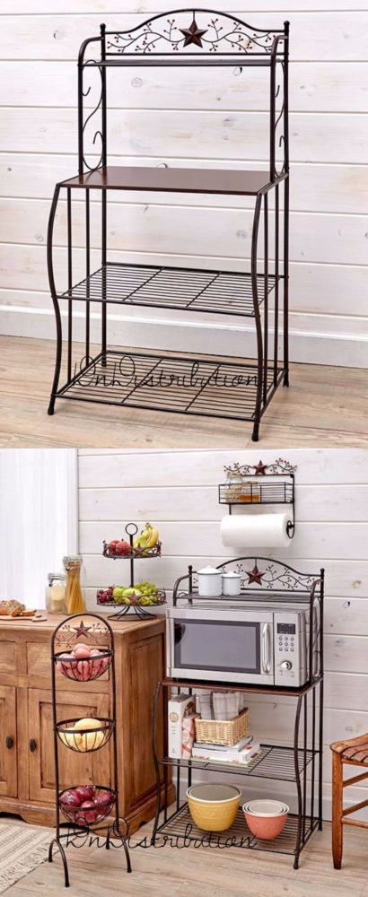 Bakers Racks 20482 Country Star And Berries Kitchen Microwave