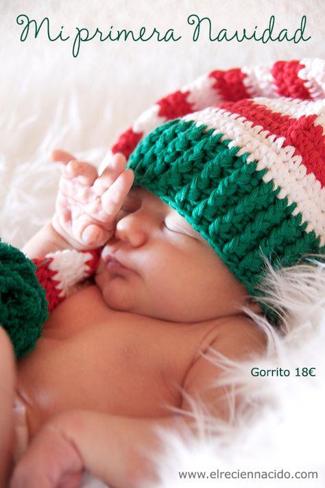 Gorros de crochet duende para Navidad.