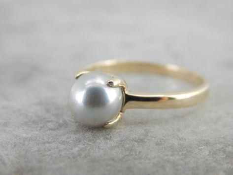 Silver Pearl Ring, Pearl Grey, Silver Pearls, Gems Jewelry, Pearl Jewelry, Jewellery, Vintage Pearls, Vintage Pearl Rings, Pearl Necklace Designs