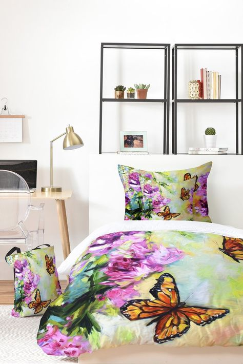 Ginette Fine Art Butterflies And Peonies Bed In A Bag Deny Designs Home Accessories Bed In A Bag Home Decor Accessories Blue Bedding